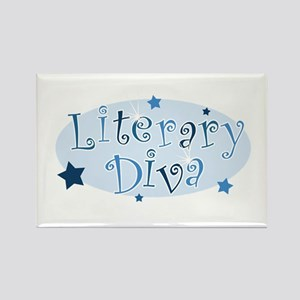 """Literary Diva"" [blue] Rectangle Magnet"